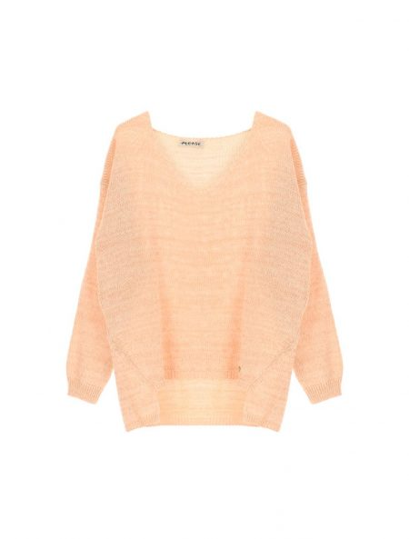 Pull Femme Please avec fil Lurex Or